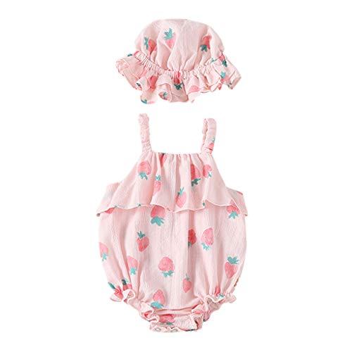 Allegorly Baby Mädchen Ärmelloser Overall Sets Sommer Erdbeer-Druck Eleganter Jumpsuit mit Rüschen Bodys Baby Strampler Bodysuit +Bedruckter Sonnenhut 0-18 Monate (Baby Mädchen Kleidung Teal)