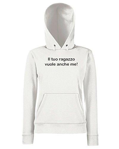 T-Shirtshock - Sweats a capuche Femme TDM00127 il tuo ragazzo vuole anche me Blanc
