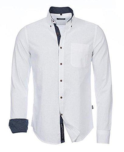 CARISMA Brandneu !!! Designer Leinen-Hemd von in 3 Farben Uni CRM8339 Slim Fit Weiß M