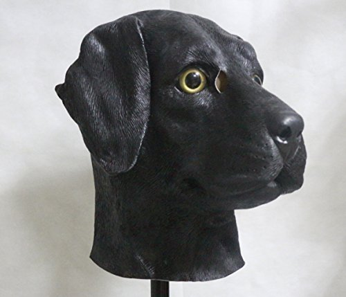 The Rubber Plantation TM 619219291392 schwarz Labrador Full Head Latex Hund Maske Fancy Kleid Halloween Tier Hunde Kostüm Zubehör, Unisex, ONE SIZE