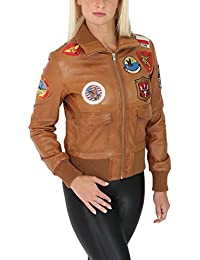 Mujer Cuero Real Bombardero Top Gun Chaqueta de la Fuerza Aérea Estilo Glory Marrón Claro