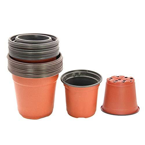 hlw sports-folwer vasi di fiori per la casa 100 pz piante in plastica vivaio/vasi piantine fioriere contenitore semi di partenza per il giardino cortile balcone (colore : marrone, dimensione : 90mm)