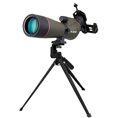 Svbony Spektiv 20-60x65 SV-13 Wasserdicht 45 Grad abgewinkelt Okular mit Stativ und Handy Adapter für Vogelbeobachtung Sportschützen Himmelsbeobachtung
