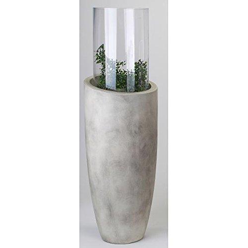 formano Windlicht SÄULE, Keramikgefäß mit Glasaufsatz grau meliert 91cm