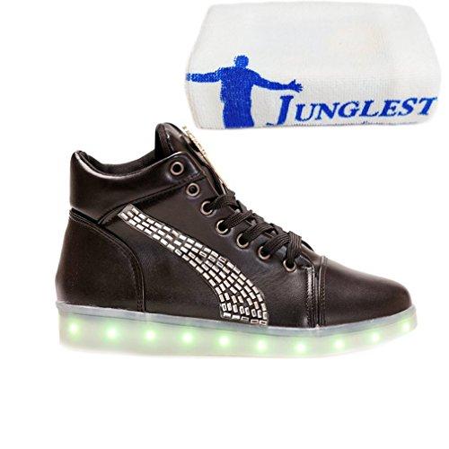 [Présents:petite serviette]JUNGLEST - 7 Couleur Mode Unisexe Homme Femme USB Charge LED Lumière Lumineux Clignotants Chaussures de marche Chaussures de Sports Noir