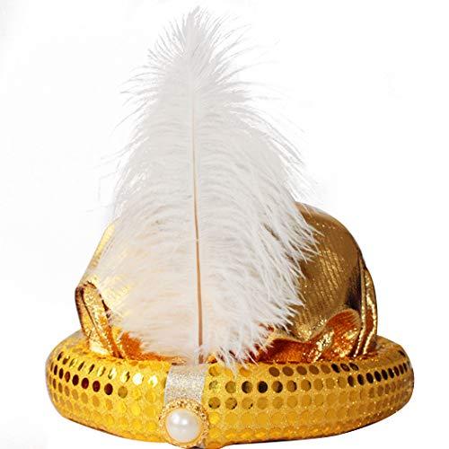 t Mode Pailletten Feder Aladdin Rollenspiel Party Hut Kostüm Hut ()