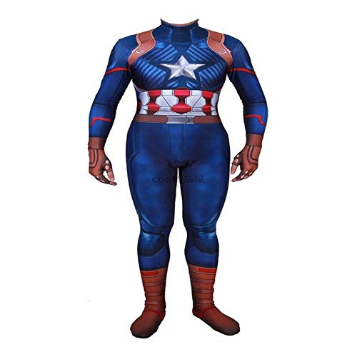 Drama Serie Top Kostüm - YXRL Captain America Cosplay Kostüm Halloween Show Kostüm Requisiten Hero Rollenspiele Full Set Kleidung Elastic Bodysuit Strumpfhosen Blue-Adult S
