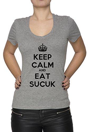 Keep Calm And Eat Sucuk Damen T-Shirt V-Ausschnitt Grau Kurzarm Größe M Women's V-Neck Grey Medium Size M (Frische Diät Lieferung)