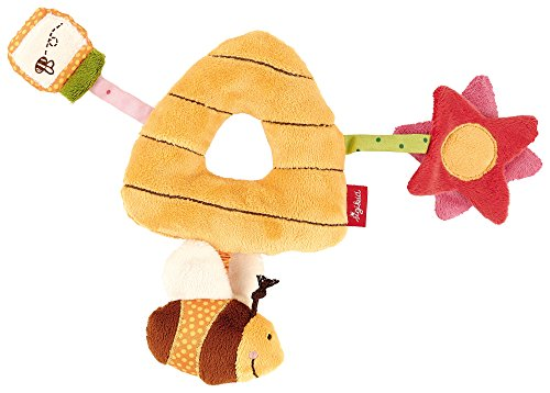 sigikid, Mädchen und Jungen, Greifling und Rassel Bienenkorb, Mit Biene, Honig und Blume, Gelb/Bunt, 41009