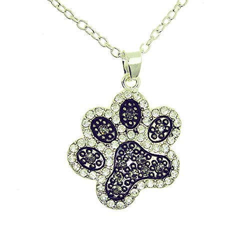 Outletissimo collana catenina catena ciondolo zampa gatto gattino stilizzato con zirconi cane ua14