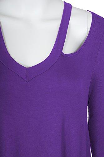 Femmes Top avec V-cou et des épaules Manches longues Violet