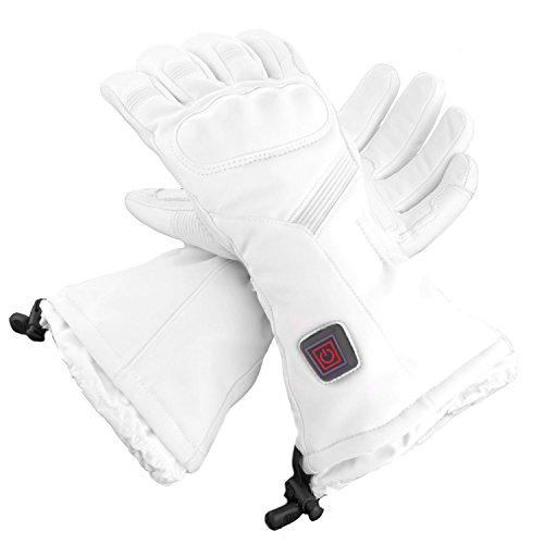 Glovii - Ski Universal Beheizte Handschuhe von Batterie erhitzt, Weiß, Größe: M