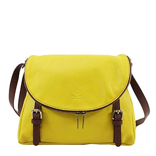 Hautefordiva , Damen Satchel-Tasche weiß M gelb