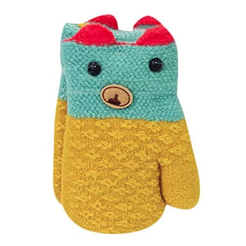 Preisvergleich Produktbild sunnymi Baby Niedlich Weihnachten Handschuhe Verdicken Nähen Winter Warme Straps (Gelb Bär B)