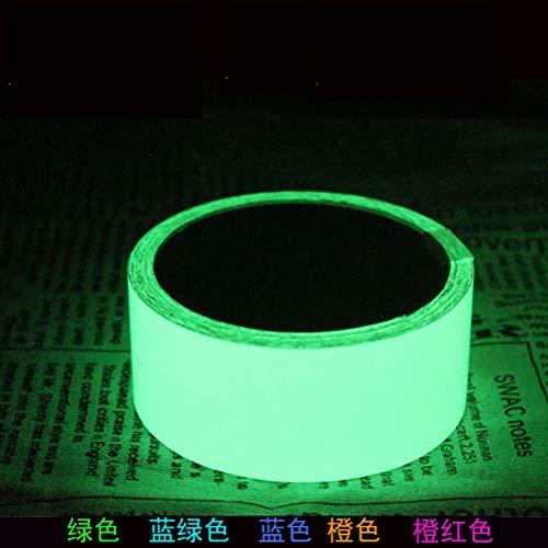 Encoco, nastro adesivo luminoso in 5 colori, fosforescente, rimovibile, impermeabile, ricaricabile, fotoluminescente per teatro, feste, segnalatore di sicurezza, 3 m 2 * 300cm green