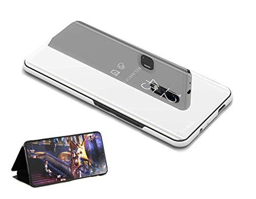 yanzi Cover Custodia per Huawei P10 Plus Plata,Funzione Kickstand Ultra-Sottile Traslucido Specchio Smart 360°Protettivo, Backcover Protezione,Regalo[Vetro Temperato Screen Pellicola Protettiva]