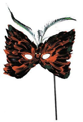 Mardi Gras Feather Mask With Stick Adult One Size
