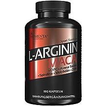 BIOMENTA L-ARGININA + MACA AD ALTO DOSAGGIO | con 2.000 mg di L-arginina + 4.000 mg Maca + OPC + Avena Sativa + Spirulina + Zinco + Molibdeno | Per donne e uomini attivi | 180 capsule di Maca