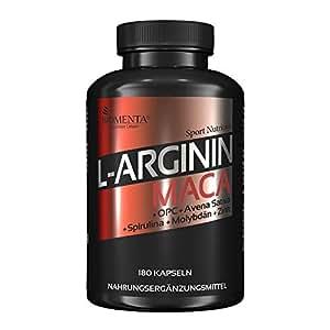 BIOMENTA L-ARGININ + MACA HOCHDOSIERT | AKTIONSPREIS!!! | 2.000 mg Arginin + 4.000 mg Maca + OPC-Traubenkernextrakt + Zink + Avena Sativa + Spirulina Algen pro Tag | 180 L-Arginin-Maca-Kapseln | Für aktive Frauen & Männer