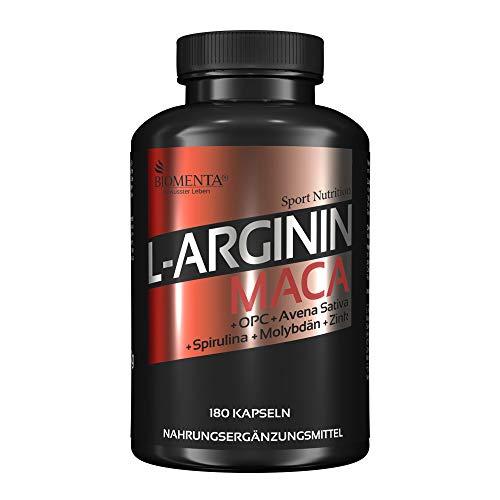 BIOMENTA L-ARGININ + MACA HOCHDOSIERT | AKTIONSPREIS!!! | 2.000 mg Arginin + 4.000 mg Maca + OPC-Traubenkernextrakt + Zink + Avena Sativa + Spirulina Algen pro Tag | 180 L-Arginin-Maca-Kapseln | Für aktive Frauen &