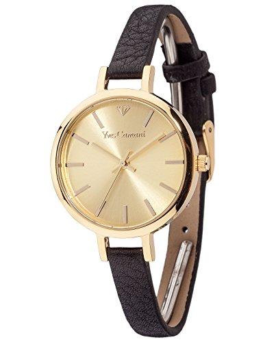 Yves Camani Nonette - Reloj de cuarzo para mujeres, con correa de cuero de color negro, esfera dorada