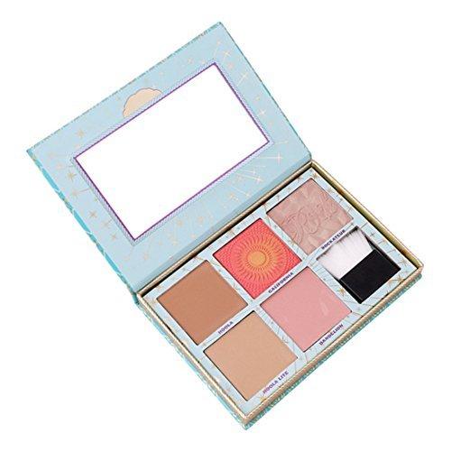 Godhl Palette de blush professionnel poudre de réparation 5 couleurs avec pinceau cosmétique