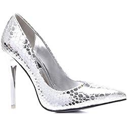 Schuhzoo - Damen High Heels Pumps Gold Silber NEU Gr. 35-40-Silber-40