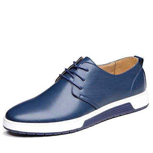 Casual Leder Herren Schuhe Business Halbschuhe Zum Schnürer Anzugschuhe Oxford Derbys Lederschuhe Wasserdicht Flache Schnürhalbschuhe Männer für Hochzeit Party Blau Übergrößenn 45