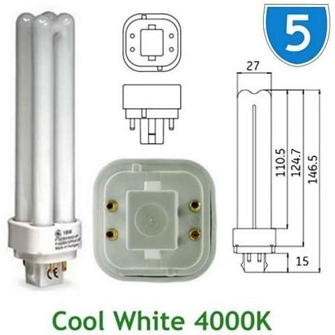 5 x GE-Lampadina a risparmio energetico 18w 12870 GE %2FE Biax D Quad, 4 PIN, colore: bianco freddo 4000 k, G24q-2, 4P, PLC-4000 K Lampadina PL F18DBX %2FSPX41% 2F840% 2F4P lampadine