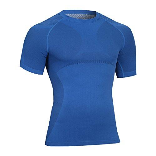 Bwiv maglietta termica uomo maniche corte assorbente ed asciugatura rapida Blu