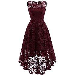 MuaDress Vestido Cóctel Vintage A-línea Hi-Lo Elegante Mujer Flor Encaje Vestidos De Fiesta Borgoña M