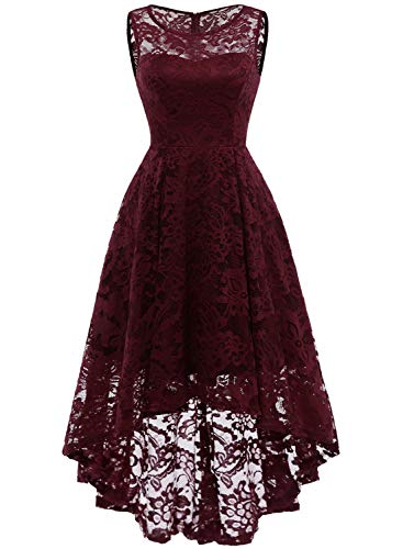 MuaDress MUA6006 Elegant Kleid aus Spitzen Damen Ärmellos Unregelmässig Cocktailkleider Party Ballkleid Burgundy L (Ball Kleid)