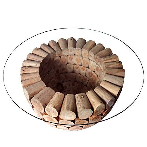 Invicta Interior Massiver Teak Holz Couchtisch Pure Nature 70cm rund mit Glasplatte Massivholz Holztisch Wohnzimmertisch Teakholz