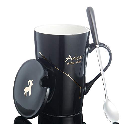 Sincn Tasse de Tasse en céramique en os de Porcelaine avec 12 cuillères à café Tasse à thé en Gros -401-500ml, Bélier (Noir)