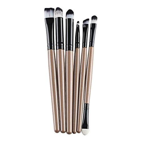 Fami 6 PCS Cosmetic Makeup Brosse à lèvres pinceau, pinceau à paupières,Or