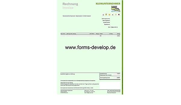 Rechnung Kleinunternehmer Pdf Formular A4h Standard Amazonde