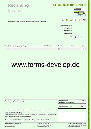 Rechnung Kleinunternehmer PDF Formular A4H Standard