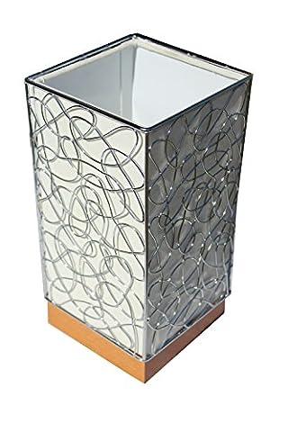 §§ Lampe de Table, Bureau, Chevet, à Poser. Design Contemporain en Bois Massif en Cerisier avec Abat jour - Cadre en Chrome Tissu Effet
