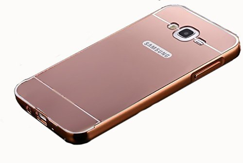 CEDO Premium Luxury Metal Bumper Acrylic Mirror Back Cover Case For Samsung Galaxy ON7 SM-G600 - Rose Gold