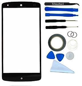 Front Glas für LG GOOGLE NEXUS 5 D820 D821 Schwarz Display Touchscreen mit 12 tlg. Werkzeug-Set / passgenauem PreCut Sticker / Pinzette / Rolle 2mm Klebeband / Saugnapf / Metall Draht / Mikrofasertuch MMOBIEL