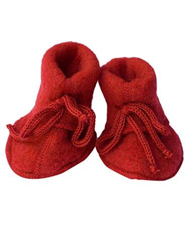 Baby Schühchen mit Bändel, Fleece, 100% Schurwolle Rot