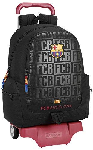 FC Barcelona Mochila Escolar, 43 cm, Negro