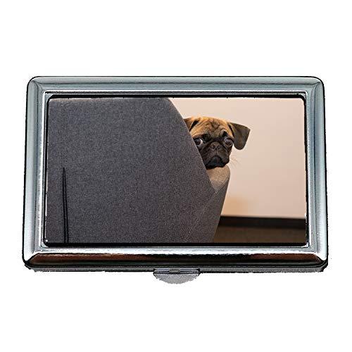 Custodia/scatola porta sigarette, Cane Pug Face Pet Black Young Dog Funny, Porta biglietti da visita Porta biglietti da visita in acciaio inossidabile