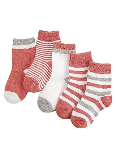 Camilife 5 Paar Baby Kleinkind Jungen Mädchen Baumwolle Socken Set Babysocken Weich Süß und Lieblich - Gestreift Wassermelone-Rosa 1-3 Jahre alt