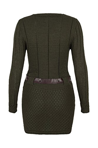 AO Carmen Robe Pull Tricote Manches longues - modèle plus long Vert