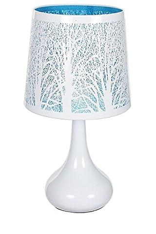 Lampe touch métal blanc motif arbre bleu