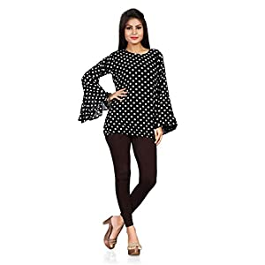 Shyam Export Girl's Georgette Casual Wear Top (Dott-Short-Top_Large_Black)