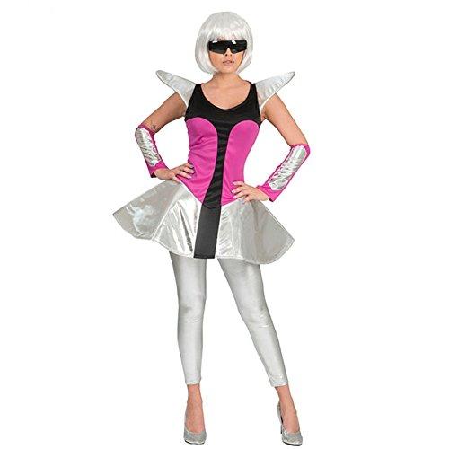 Funny Fashion Damen Kostüm Space Travel Kleid silber/pink Armstulpen Weltraum Weltall (44/46) (Silber Weltraum Kostüm)