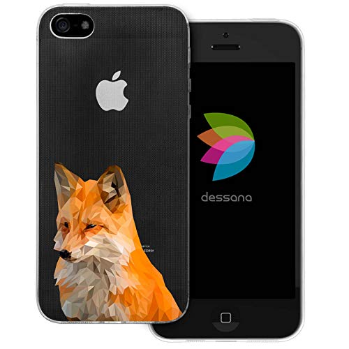 dessana Comic Füchse Transparente Schutzhülle Handy Case Cover Tasche für Apple iPhone 5/5S/SE Polygonal Fuchs