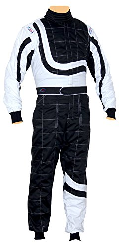 Price comparison product image New Adult Karting / Race / Rally One Piece Suits Poly Cotton 8 Brilliant Colors (Black White,  Large)